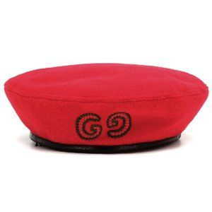 Gucci GG Embroidered Felt Beret In Red